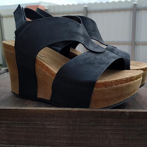 a9e526289d4a Womens Platform Wedge Sandals Black Vegan Leather